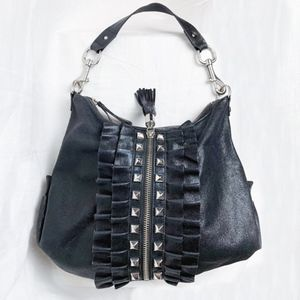 Betsey Johnson Shimmery Leather Studded Bag